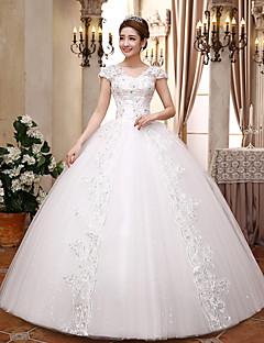 Gömbölyded v-nyakú padló hosszúsága szatén tüll esküvői ruha kristály mhsg