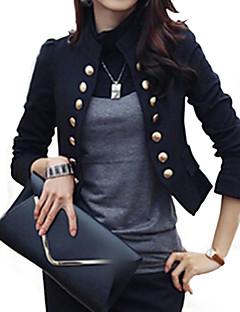 Damen Solide Anspruchsvoll Lässig/Alltäglich Arbeit Blazer,Ständer Frühling Herbst Langarm Kurz Baumwolle Polyester
