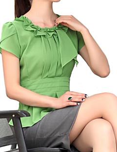 Damen Solide Einfach / Street Schick Lässig/Alltäglich Bluse,Halskrause Sommer Kurzarm Weiß / Grün Dünn