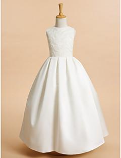 Λουλούδι κορίτσι φόρεμα κορίτσι μήκους αγκάθι - δαντέλα σατέν αμάνικο λαιμό κόσμημα με δαντέλα από lan ting bride®