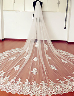Véus de Noiva Duas Camadas Véu Catedral Borda com aplicação de Renda Tule Renda Branco Marfim