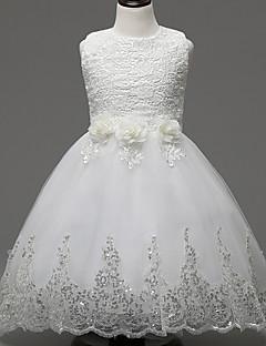 Γραμμή Α Μέχρι το γόνατο Φόρεμα για Κοριτσάκι Λουλουδιών - Δαντέλα / Οργάντζα Αμάνικο Με Κόσμημα με