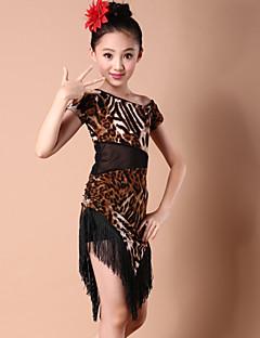 ריקוד לטיני שמלות בגדי ריקוד ילדים ביצועים ספנדקס מילק פייבר חלק 1 שמלה