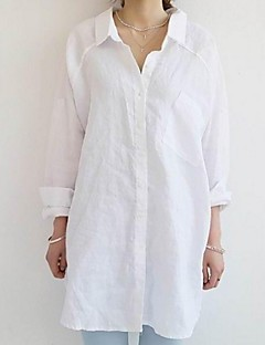 Damen Solide Lässig/Alltäglich Übergröße Hemd,Hemdkragen Frühling Langarm Leinen Dünn