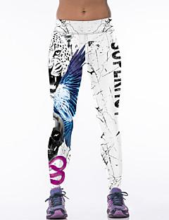 Yogabukser 3/4 Tights Leggings Bunner Pustende Naturlig Stretch Drakter Hvit Dame Yoga & Danse Sko Trening & Fitness Racerløp Løp