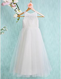 Λουλούδι φόρεμα κορίτσι λουλουδιών μήκους αγκώνων - δαντελωτό τούλι χωρίς μανίκι λαιμό κόσμημα με δαντέλα πιέτες από lan ting bride®