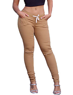 Vrouw Effen kleur Gerafeld Legging,Katoen Spandex Medium