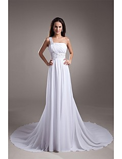 A-line One Shoulder Court Train Chiffon Wedding Dress with Beading by LAN TING BRIDE®