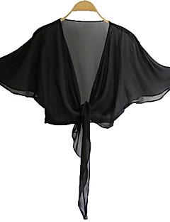 Damen Solide Street Schick Lässig/Alltäglich Hemd,Kapuze Sommer ½ Länge Ärmel Weiß / Schwarz Polyester Lichtdurchlässig