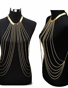 בגדי ריקוד נשים תכשיטי גוף שרשרת בטן רתמתי שרשרת שרשרת גוף / בטן שרשרת סקסית ארופאי מוצלב אופנתי ביקיני תכשיטים ציפוי זהב תכשיטים תכשיטים