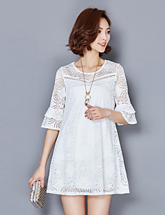 Naiset Löysä Mekko Yksinkertainen Rento/arki Plus-koko,Yhtenäinen Pyöreä kaula-aukko Polvipituinen Polyesteri Kesä Keski vyötärö