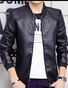 男性用 プレイン カジュアル ジャケット,長袖,コットン,ブラック