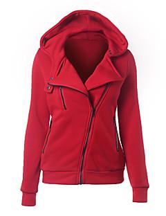 Damen Hoodie-Jacke Lässig/Alltäglich Einfach Solide Mikro-elastisch Polyester Langarm Frühling
