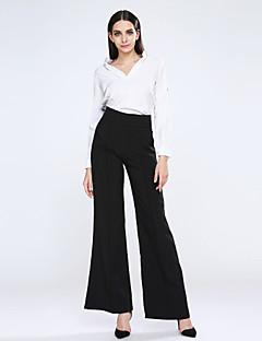 Feminino Cintura Alta Micro-Elástica Jeans Calças,Perna larga