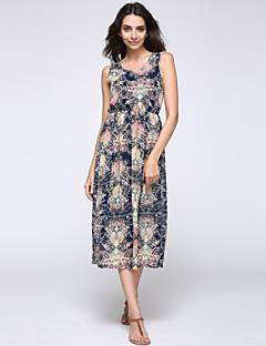 Sukienka - Obuwie damskie - Plisy - Maxi - Bez rękawów - Okrągły dekolt