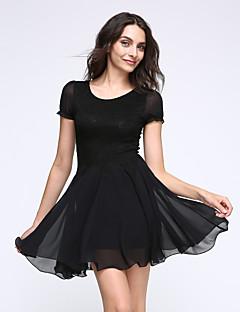 Spódnica Sukienka Damskie Wyjściowe Urocza Jendolity kolor,Dekolt w kształcie litery U Przed kolano Krótki rękaw Lato Średni stan