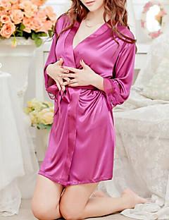 Robe de chambre Ultra Sexy Vêtement de nuit Femme,Rétro Couleur Pleine Satin Blanc Rose Violet Bleu Noir
