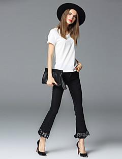 frmz sólida jeans preto / largura pantsstreet perna da mulher chique