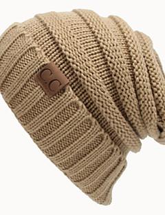 ユニセックス 秋 冬 ヴィンテージ オフィス カジュアル ニット 純色 ビーニー帽