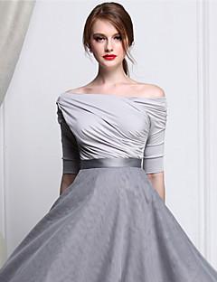 Femme Epaules Dénudées Tee-shirt,Couleur Pleine Sortie Sexy/simple Printemps/Automne ½ Manches Epaules Dénudées Blanc/Noir/Gris Modal Opaque