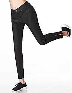 Mulheres Calças Moda de Rua Jeans Algodão / Raiom / Poliéster / Elastano Micro-Elástica Mulheres