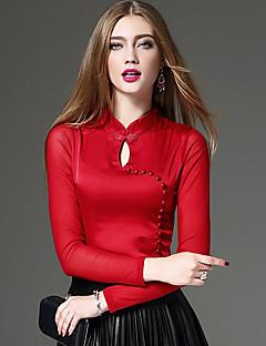 Langærmet Høj krave Blank Medium Dame Blå Rød Sort Ensfarvet Patchwork Forår Efterår Vintage Gade KineseriI-byen-tøj Afslappet/Hverdag