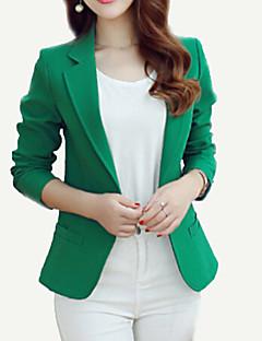 Damen Solide Einfach Arbeit Blazer,Gekerbtes Revers Frühling Herbst Standard Polyester