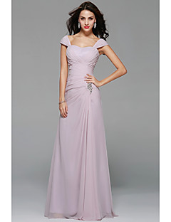 a-line off-the-shoulder床の長さシフォンの花嫁介添人ドレスとビーディング