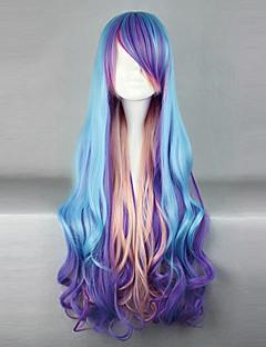 Lolita Wigs Punk Lolita Modrá Zářící barvy Lolita Paruky 80 CM Cosplay Paruky Patchwork Paruka Pro
