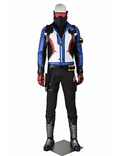Inspireret af Overwatch Ace video Spil Cosplay Kostumer Cosplay Kostumer Cosplay Toppe / Underdele Stribet Hvid Sort BlåJakke Vest Hakama