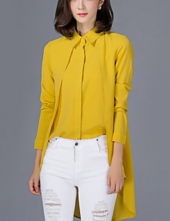 Polyester Tynn Langermet,Skjortekrage Skjorte Ensfarget Trykt mønster Vår Høst Gatemote Arbeid Dame
