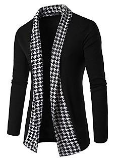 Masculino Padrão Carregam,Casual Simples Sólido Colarinho de Camisa Manga Longa Algodão Primavera Média Micro-Elástica