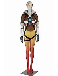 Inspireret af Overwatch Rena Ryugu video Spil Cosplay Kostumer Cosplay Kostumer Cosplay Toppe / Underdele Farveblok Hvid Gul Grå Kort Ærme