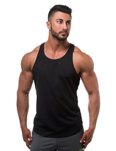 Men's Sports Casual/Daily Beach Simple Active All Seasons Summer Tank Top,Solid U Neck Sleeveless Cotton Thin