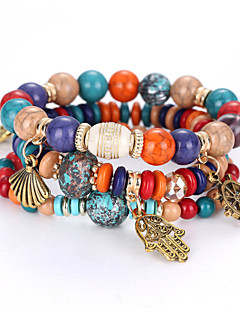 Mulheres Pulseiras Strand Natureza Equilíbrio de poder bijuterias Moda Com Miçangas Multi Camadas Personalizado Acrílico Bola Jóias Para