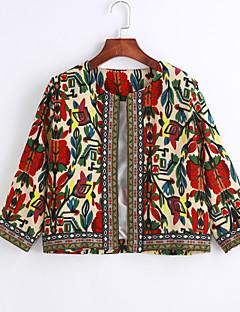 Damen Druck Vintage Ausgehen Party/Cocktail Jacke,Rundhalsausschnitt Frühling ¾-Arm Standard
