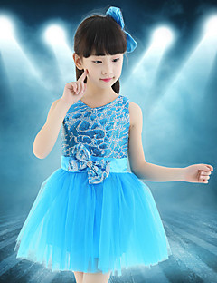 Zullen we balletdansjurken kinderen splicing 1 stuk latin dans jurk