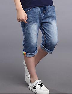 Gutt Fritid/hverdag Jeans Ensfarget Bomull Rayon Sommer