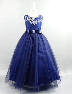 Ball gown nilkka pituus kukka tyttö mekko - pitsi tulle hihaton jalokivi niska