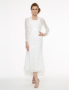 Γραμμή Α Ασύμμετρο Δαντέλα Φόρεμα Μητέρας της Νύφης - Δαντέλα Πλισέ με LAN TING BRIDE®