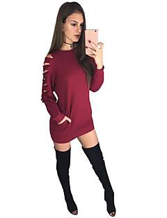 Damen Pullover Normal Solide Rundhalsausschnitt Mikro-elastisch Baumwolle Elasthan Lange Ärmel Frühling