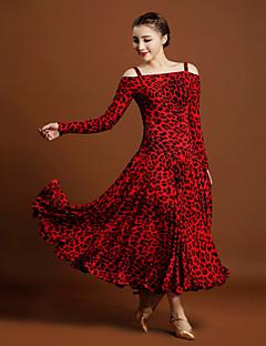 Standardní tance Dámské Zvířecí potisk 1ks / Set Dlouhé rukávy Přírodní Šaty