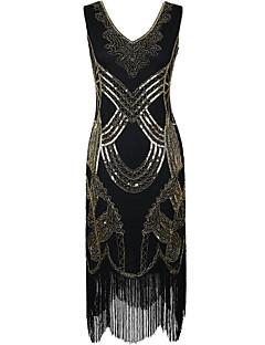 kaulus / pylväs v-kaula polvipituus polyesteri cocktail party mekko paljetteja