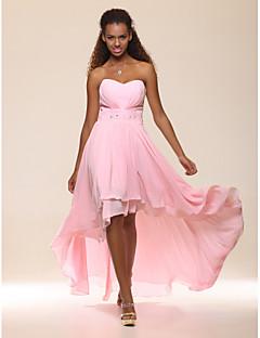 A-lijn prinses strapless liefje vloerlengte asymmetrische chiffon avondjurk met kralen door ts couture®