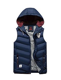 コート レギュラー パッド入り メンズ,日常 カジュアル ソリッド ストライプ ポリエステル コットン-シンプル ノースリーブ