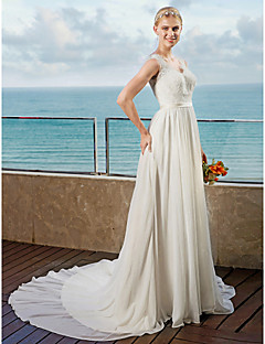 A-Line Straps Chapel Train Chiffon Wedding Dress with Appliques Sashes/ Ribbons by LAN TING BRIDE®