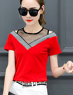 Women's Going out Casual/Daily Sexy Simple Spring Summer T-shirt,Striped V Neck Short Sleeve Polyester Medium