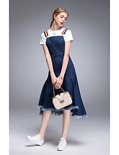 Damă Rotund Tricou Fustă Costume Concediu Ieșire Casul/Zilnic Simplu,Mată Manșon Scurt Primăvara Vara Micro-elastic