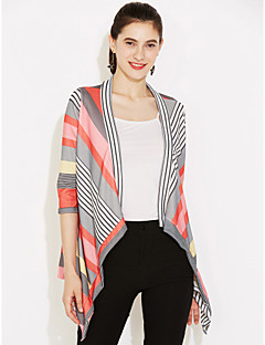 Women's Casual/Daily Simple Fall Wrap,Color Block Halter Long Sleeve Red Thin