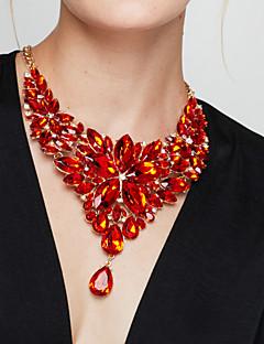 Dame Uttalelse Halskjeder store halskæder Blomsterformet Edelsten Harpiks Mote Europeisk Luksus Smykker Elegant kostyme smykker Smykker